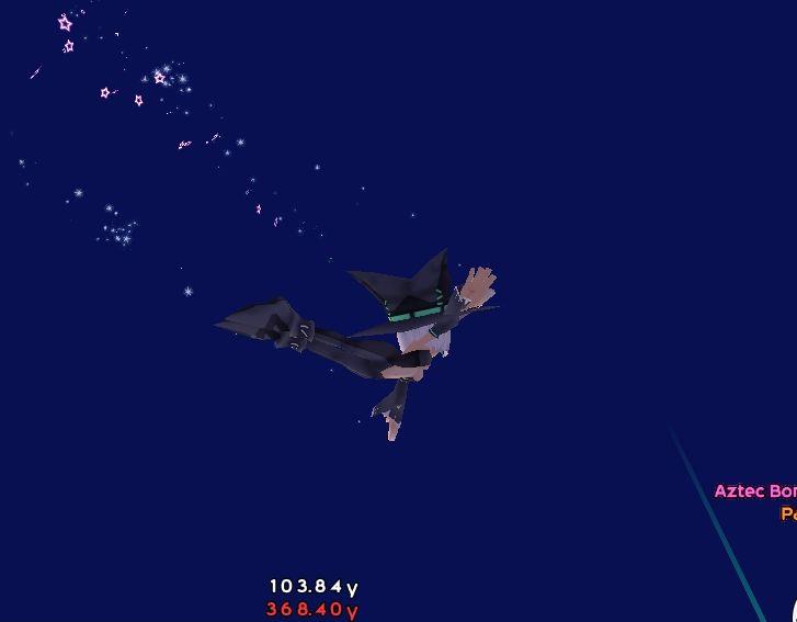 空飛ぶブルースターアズテックを追いかけるカディエさんだ!