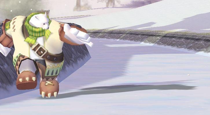 WhiteWiz 8H。氷の上を転がるボールと並走するタンプー!