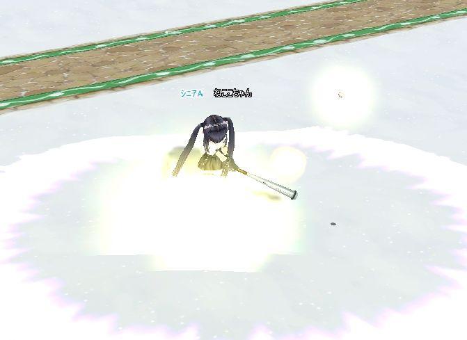 ねここちゃんは、しょんぼり PW でトマホーク(涙)スプーンですくい上げるようなへぼいショットだ!